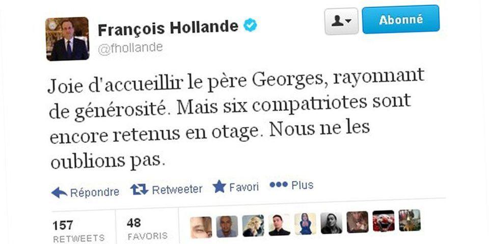 """Retour de Hollande sur Twitter : Marine Le Pen moque un """"coup de com"""", """"presque un aveu"""""""
