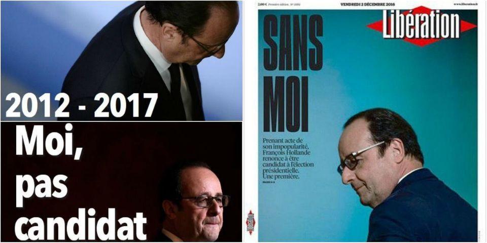 """""""Sans moi"""", """"la fin"""", """"moi, pas candidat"""" : les unes de la presse après le renoncement de Hollande"""