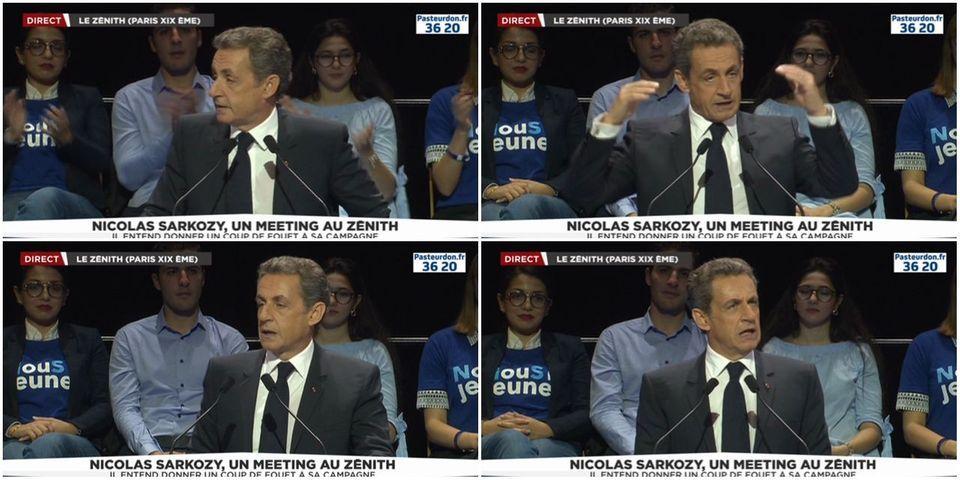 """Sarkozy se pose en candidat de """"la France de la vie réelle"""" face à une élite qui aime """"avec son panier, en osier, aller acheter des œufs frais"""""""