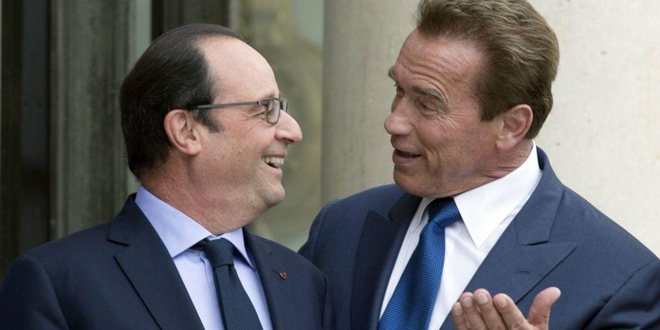 """Schwarzenegger félicite Hollande, """"le champion du peuple et de l'environnement"""""""