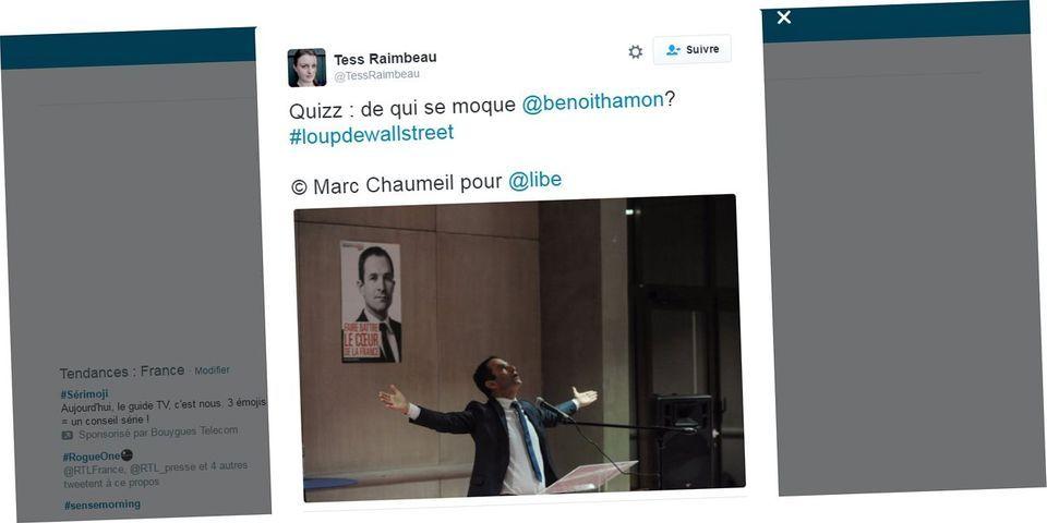 """Soudain, Benoît Hamon imite la pose christique d'Emmanuel Macron : """"tout le monde ne peut pas être DiCaprio"""""""