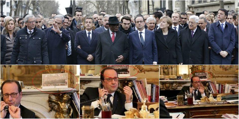 Sur la cheminée du bureau de François Hollande, trône désormais la photo de la marche républicaine du 11 janvier