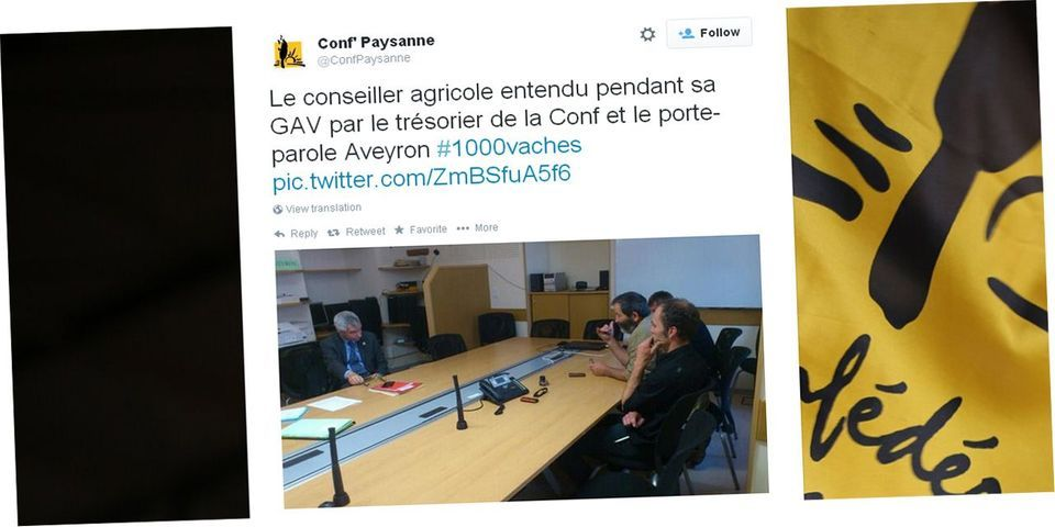 """Un conseiller de François Hollande symboliquement placé """"en garde à vue"""" par la Confédération paysanne à Rodez"""