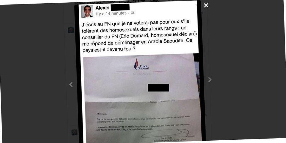 """Un conseiller de Marine Le Pen suggère à un sympathisant mécontent de voir des gays au FN de """"déménager en Arabie Saoudite"""""""
