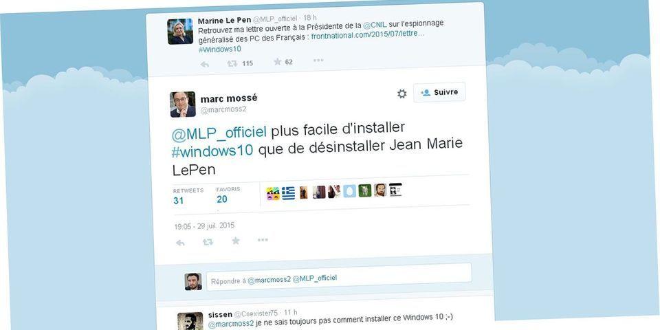 Un haut cadre de Microsoft France trolle Marine Le Pen après sa critique de Windows 10
