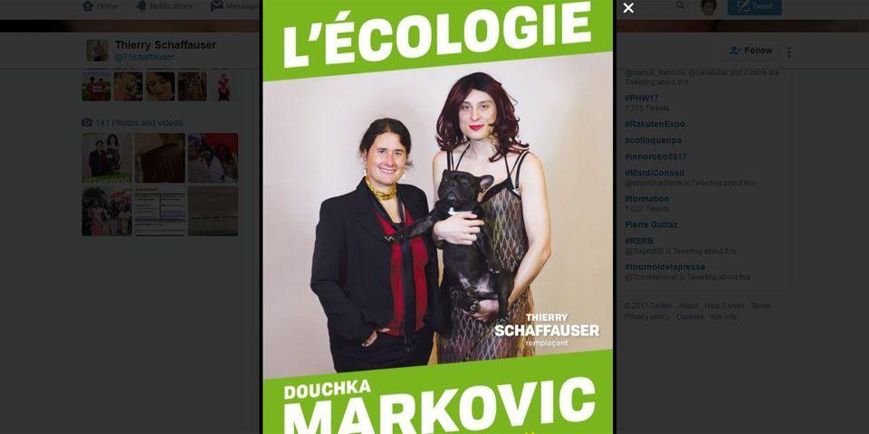 Un suppléant pose travesti sur une affiche de campagne pour les législatives, EELV lui retire son investiture