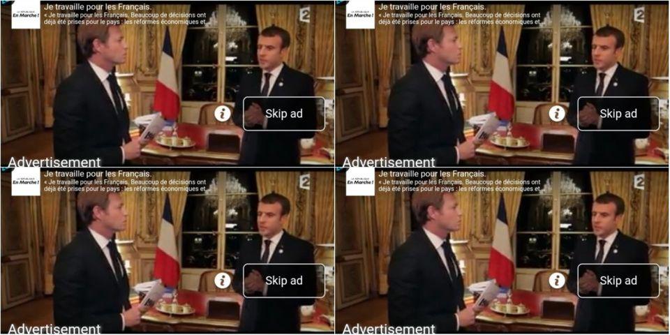 """Une vidéo de Macron postée sur Facebook par LREM se retrouve par """"erreur"""" en pub dans un article de presse"""