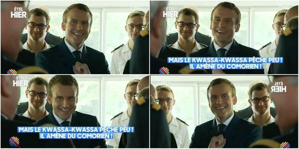 """VIDÉO - La très mauvaise *blague* de Macron sur les bateaux qui """"amènent du Comorien"""" à Mayotte"""