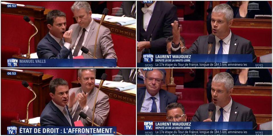 """VIDÉO - Laurent Wauquiez explique qu'on se moque du droit constant contre les terroristes, Manuel Valls le traite d'""""opportuniste"""""""