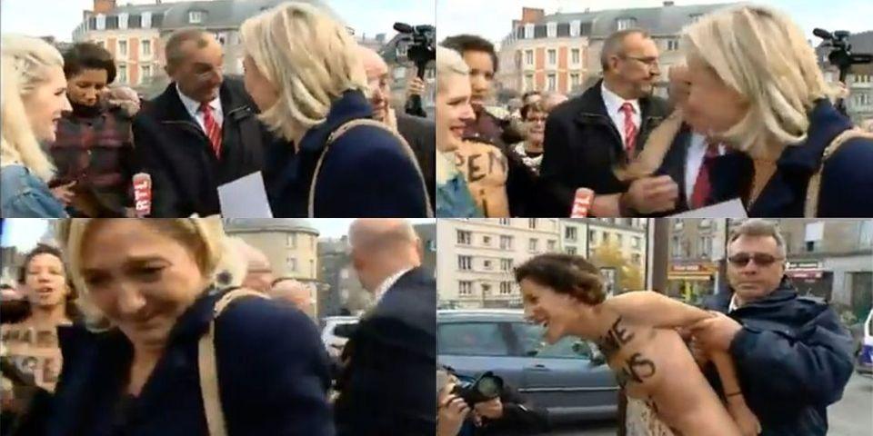 Vidéo : Marine Le Pen accueillie par les Femen en Bretagne