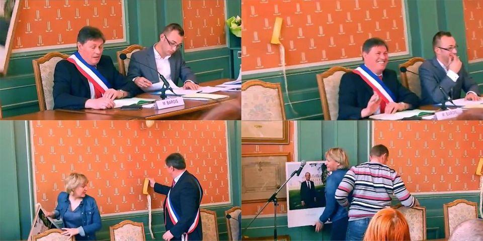 Vidéo : la photo officielle de François Hollande tombe en plein conseil municipal d'un maire communiste