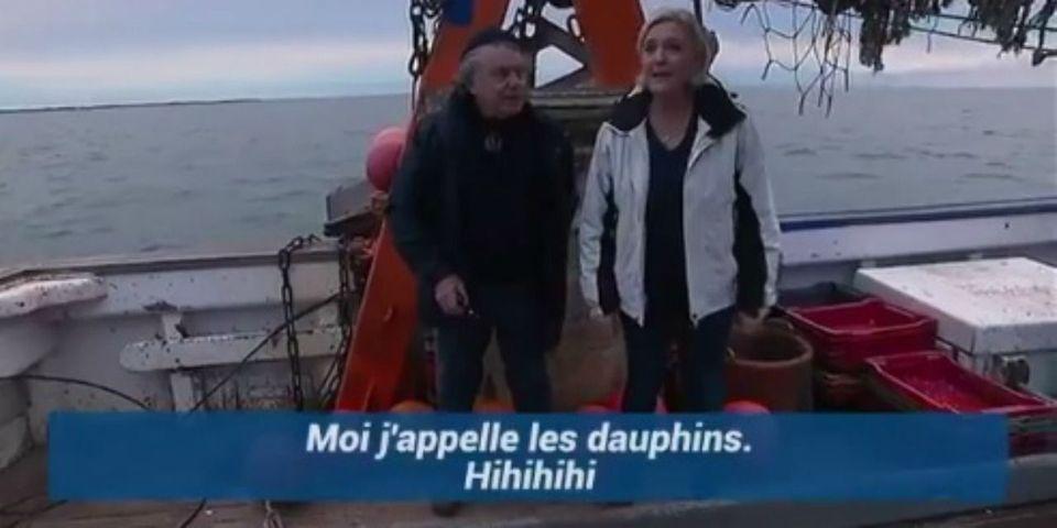 """VIDÉO – Quand Marine Le Pen """"appelle les dauphins"""" : """"hihihi"""""""