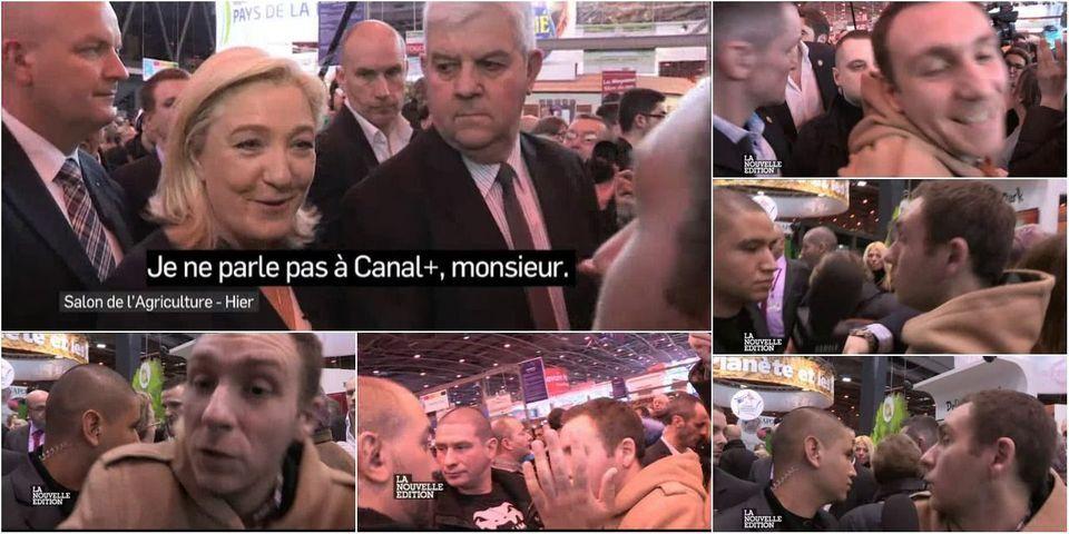 VIDÉO - Quand Marine Le Pen et son service d'ordre rembarrent un journaliste de Canal + au salon de l'Agriculture