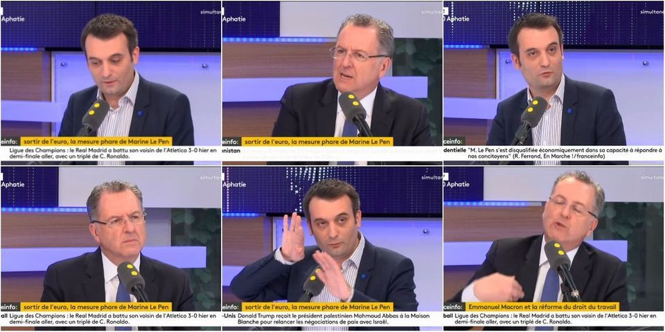 VIDÉOS - Invectives et mises en cause : l'impossible *débat* entre Richard Ferrand et Florian Philippot (avant Macron-Le Pen)